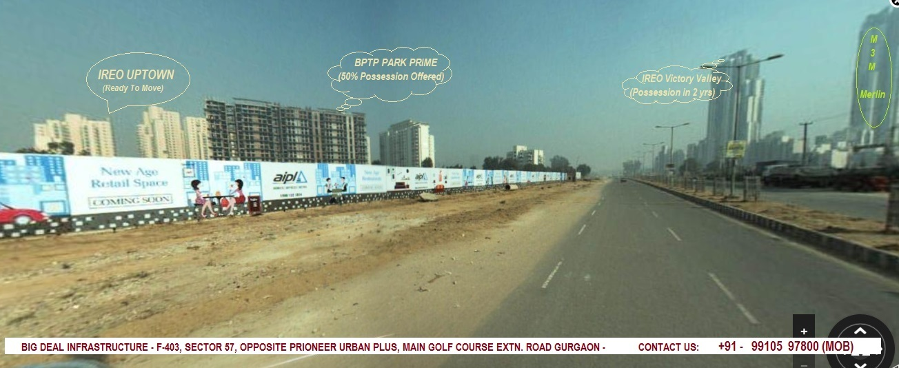 Golf Course Extension Road area under development at a rapid pace.